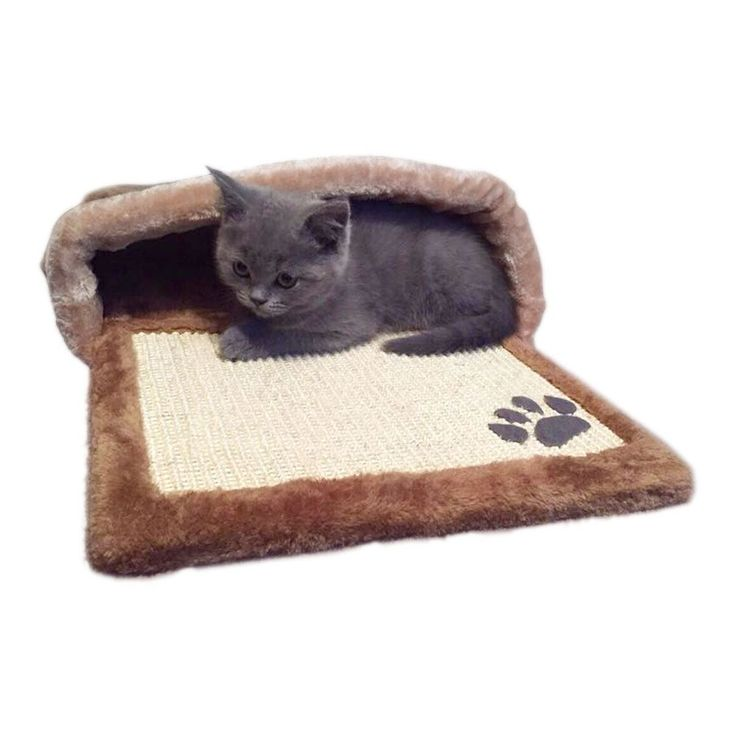 Soft Brown Cat Cave Hooded Brown Fabric Polyester Dogs Kittens Puppies Pets Bed