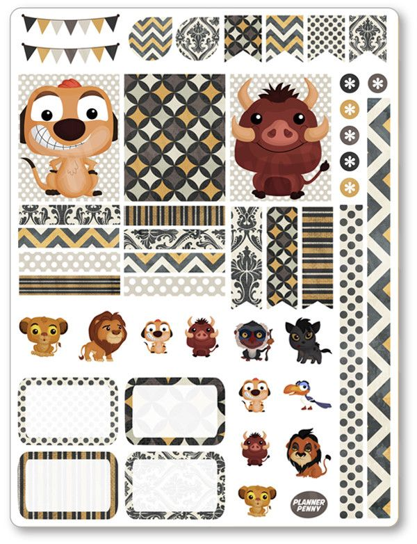 Lion Friends Decorating Kit / Weekly Spread Planner Stickers