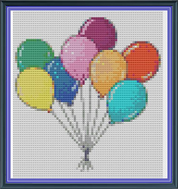 Cross Stitch Pattern Party Balloons Cute cross stitch by Kookooed, £2.50