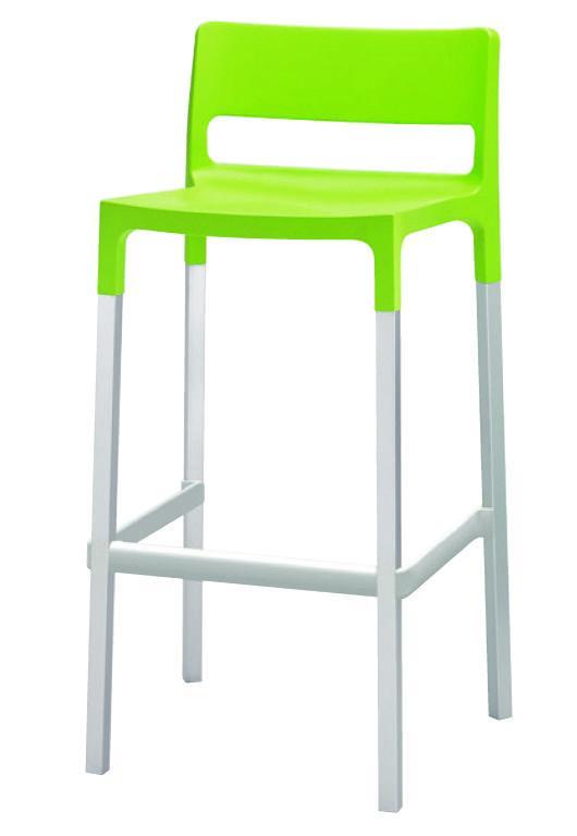 Taburete Divo con asiento de polipropileno. Estructura cuadrada en aluminio anodizado. Para uso en interiores y exteriores. Apilable. Disponible en dos alturas.  Producto importado desde Italia, Scab Design.