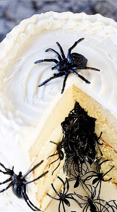 Halloween Spider Surprise Cake - OMG I'm gonna die... (Cheater's tip - if you don't have the time to bake a cake, buy one from the bakery and cut out the center and fill with...ugh... the spiders) ❊