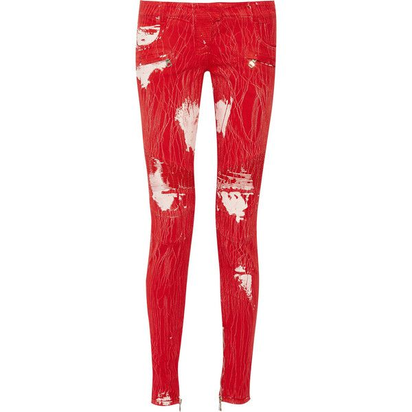 Balmain Paint-splattered low-rise stretch-denim skinny jeans ($838) ❤ liked on Polyvore featuring jeans, pants, crimson, red skinny jeans, skinny fit jeans, balmain, super low rise skinny jeans and red jeans