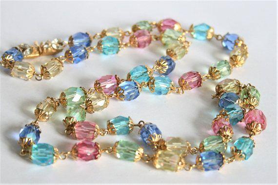 Vintage Czech glass bead necklace.  Multi colour necklace.