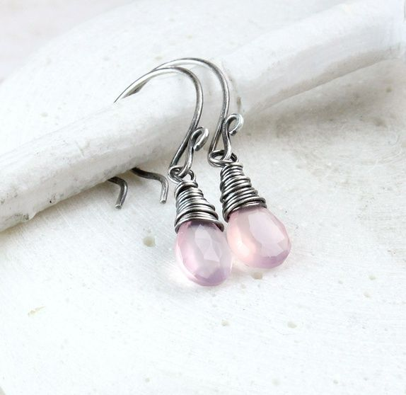 Øredobber - rosa kalsedon - sølv
