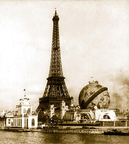 Eiffel Tower and Globe from Point Passay, Paris Exposition, 1900...neat!