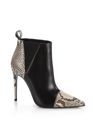Gucci Daisy Leather Snakeskin Ankle Boots | Footwear