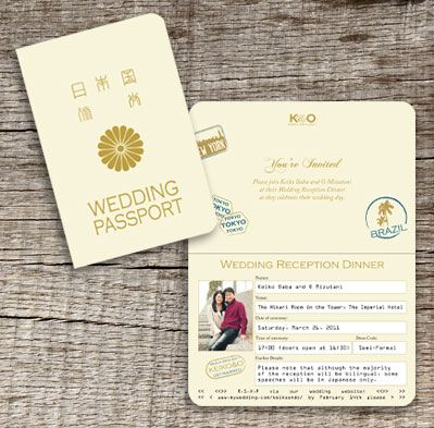 Japanese Wedding Invitation designed to look like a realistic Passport from Japan by www.DestinationStationery.com