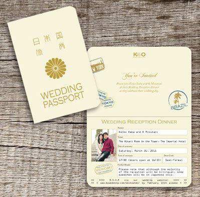 Japanese Wedding  Invitations, like the passport idea...