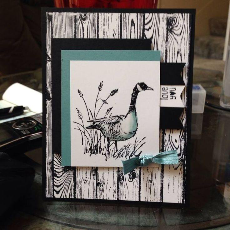 Wetlands goose and Hardwood stamp, black and white card ... soft dusty teal accents