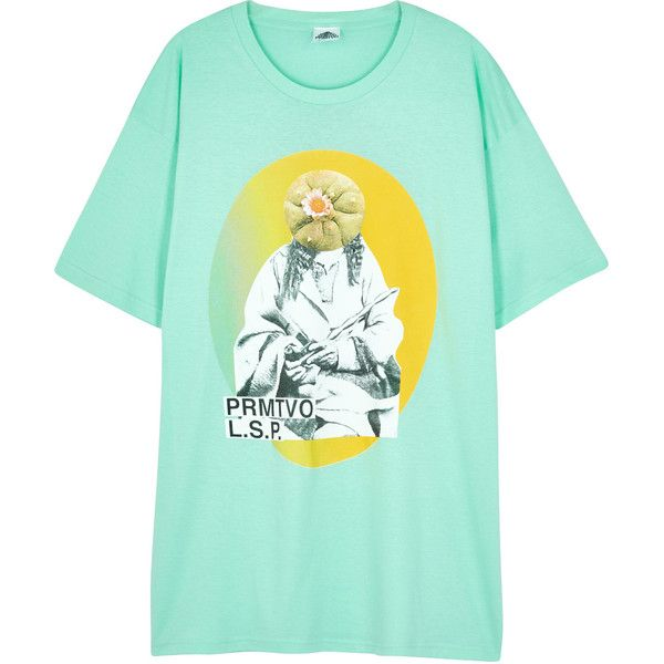 Prmtvo Peyote God Printed Cotton T-shirt - Size L ($58) ❤ liked on Polyvore featuring men's fashion, men's clothing, men's shirts, men's t-shirts, mens mint green shirt, mens cotton t shirts and mens cotton shirts