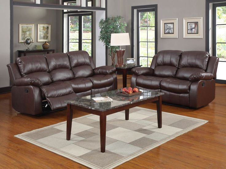 Chesterfield Sofa Furniture u Design Living room furniture Sofas and Sets Motion sofa sets pc Cranley collection Brown bonded leather match upholstered double