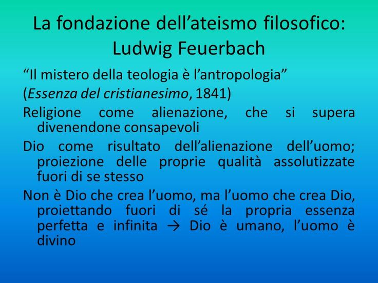 La fondazione dell'ateismo filosofico di Feuerbach