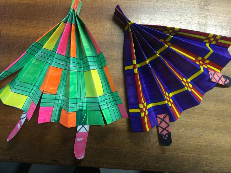 Highland dancing decorations. The children coloured in the tartan, concertina folded the paper, stapled them at the top and added the legs ready to be put on string and hung across the stage!
