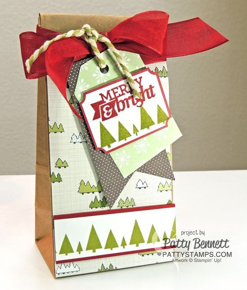 Stampin' UP! Cafe Treat Bag with Santa & Co. designer paper and Under the Tree gift tag by Patty Bennett