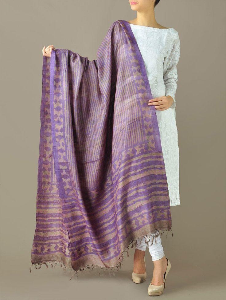Purple-Grey Stripe Tussar Silk Dupatta
