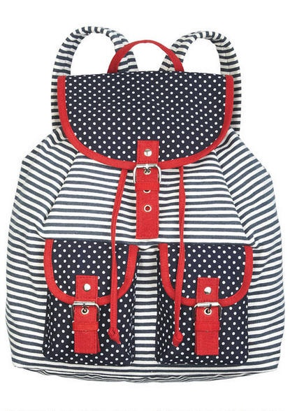 Navy Dot/Stripe Backpack