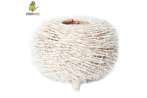 Casa Uno Sheik Matchstick Ball Lamp White Bamboo Cane Metal Retro Decor NEW