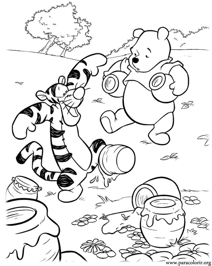 Tigger Is Trying To Help His Friend Pooh Organize The Honey A Beautiful Coloring Page