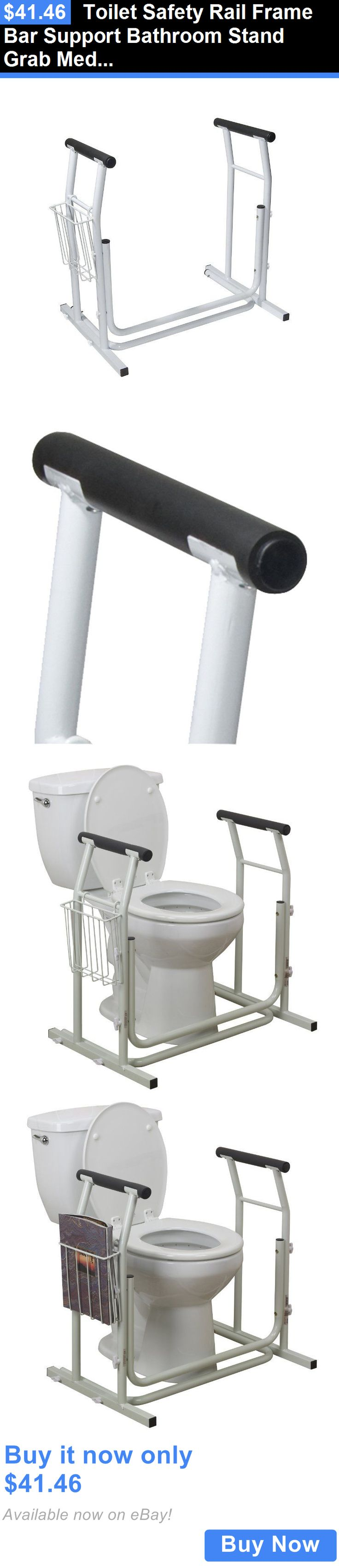 Handles And Rails Toilet Safety Rail Frame Bar Support Bathroom Stand Grab Medical Alone Handicap
