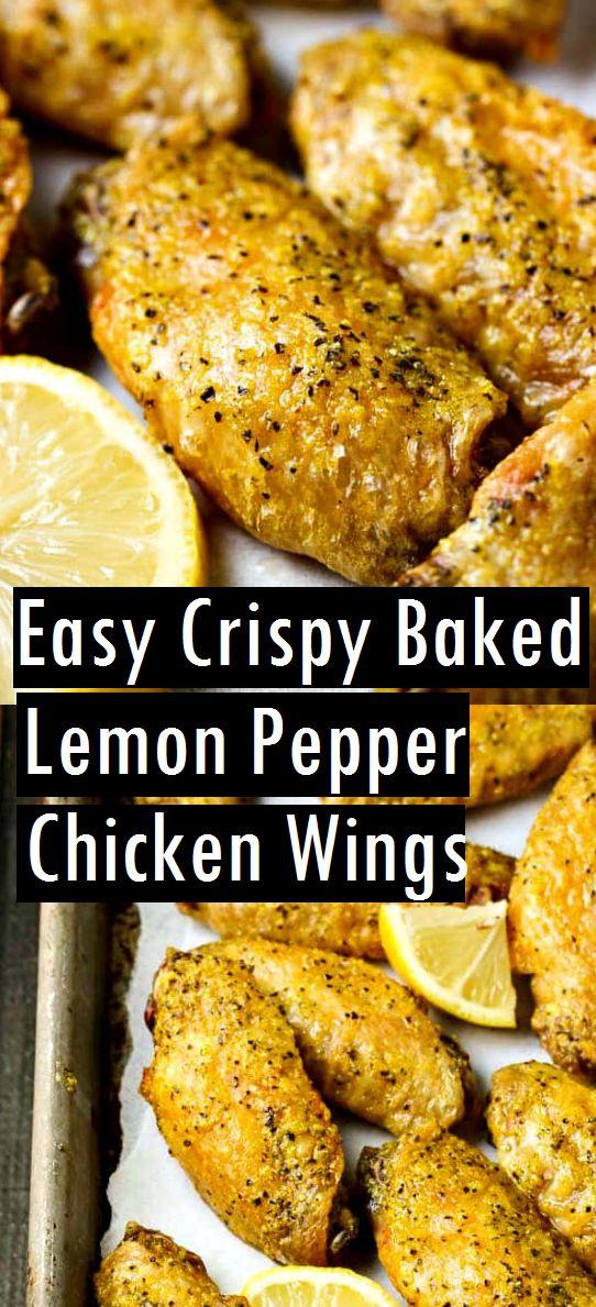 Einfache knusprige gebackene Zitronen-Pfeffer-Hühnerflügel