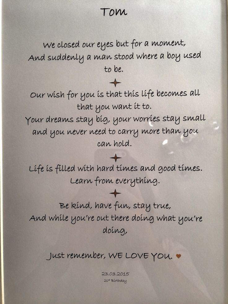 Beautiful framed words of wisdom I put together for my sons 21st birthday. Read more on the blog.