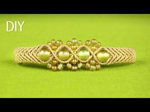 How to Make a SNAKE or a WAVE Macrame Bracelet with Beads - YouTube