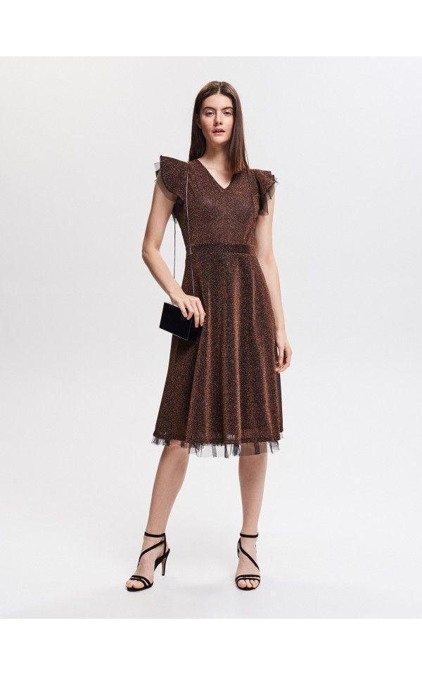 12ad4d450180dd Kleid mit glänzenden Nähten, Kleider, Jumpsuits, braun, RESERVED ...