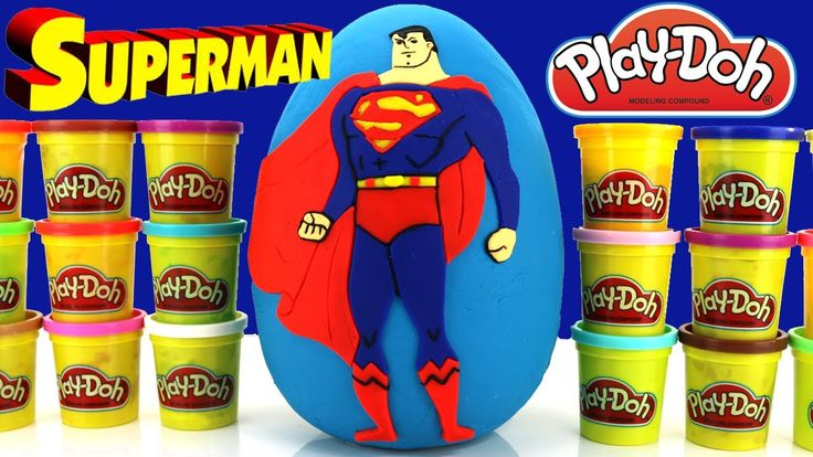 "Superheroes Toys Superman Giant Play Doh Surprise Egg TMNT and more!! This Giant Surprise Egg is covered in Play-Doh and features Superman on the front. Inside we find surprise toys from DC Comics and Kidrobot Superheroes Toys and we even open a kinder egg surprise. Some of the superheroes we can get are Superman Batman The Flash and more!   This ""Superman Giant Egg Surprise"" was a lot of fun to do and I think we are going to make more of these Superhero Surprise Eggs! Maybe next time we…"