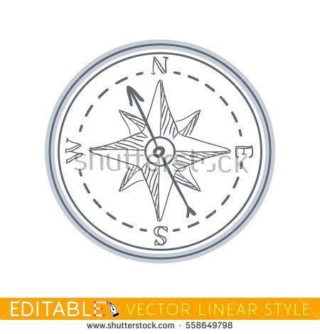 Compass. Wind rose. Editable line drawing. Stock vector illustration.