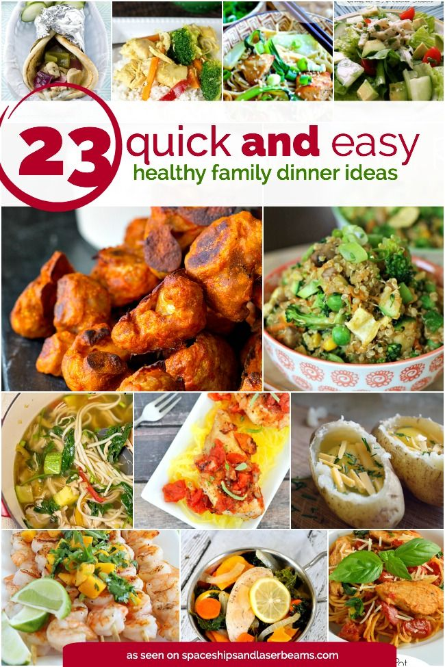 It's dinner time, and you're out of ideas? You need some quick and easy healthy family meal suggestions! We've rounded up 23 of our favorites for you to try. From Thai meatball lettuce wraps to Mexican pizzas to grilled lime coconut shrimp, there is a huge variety of... #family #featured #healthy
