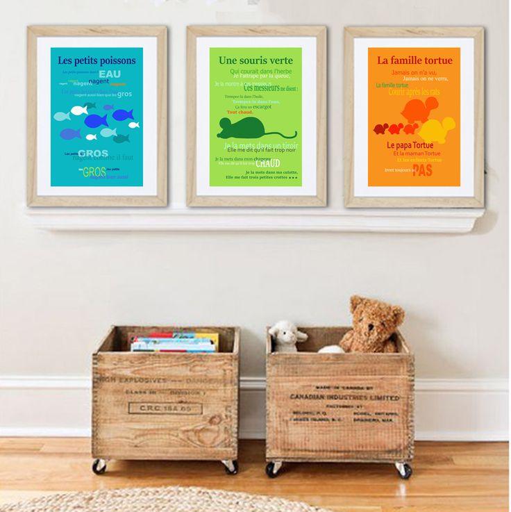 3 affiches colorées sur les comptines pour enfant : Chambre d'enfant, de bébé par alexiableu
