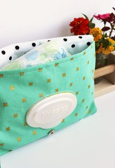 Diaper Clutch, Mint and Gold, Gender Neutral Baby, Small Diaper Bag