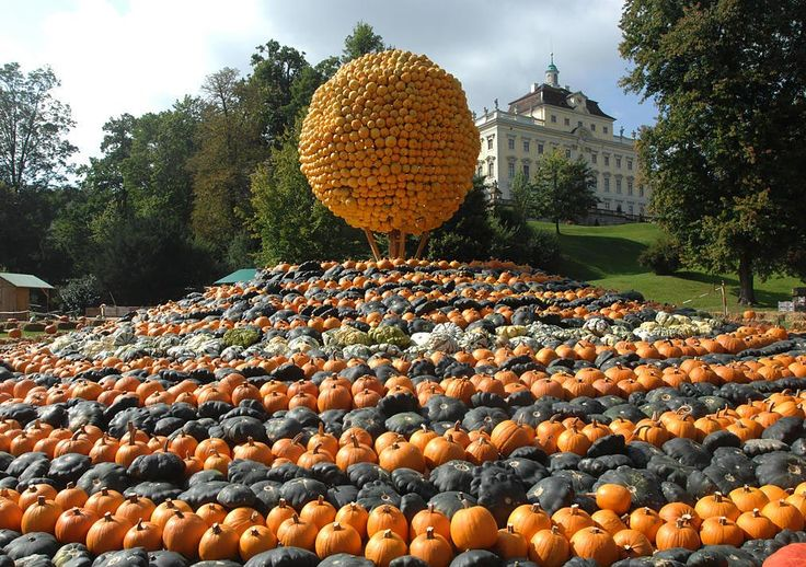 "The Pumpkin Festival at Blühendes Barock, Ludwigsburg from September 4 to November 8, 2015 with the theme ""Pumpkins Taking Flight!"""