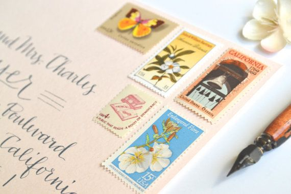 Wedding Stamps Vintage California Wedding Postage by EdelweissPost