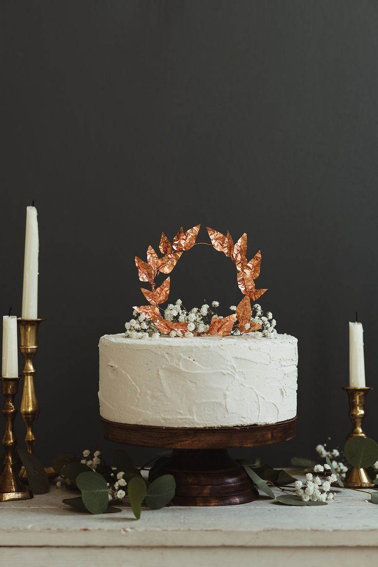 copper leaf cake topper - http://ruffledblog.com/diy-copper-leaves-cake-topper/