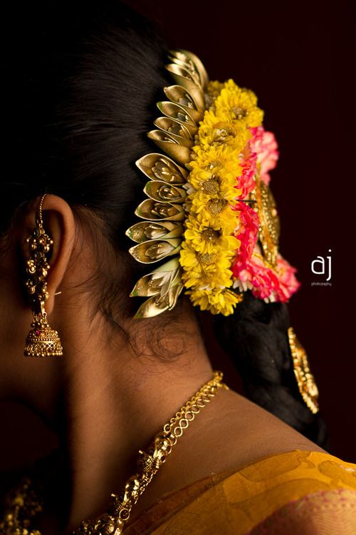 Traditional South Indian bride's bridal hairstyle