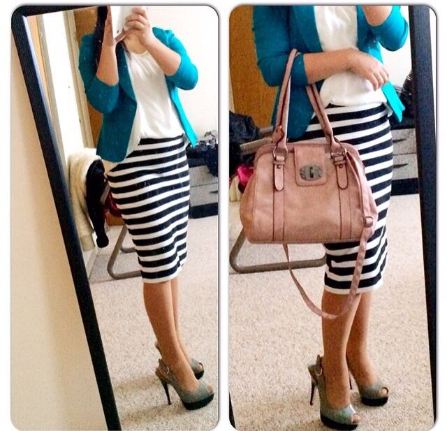 Striped skirt, bright blazer, simple blouse