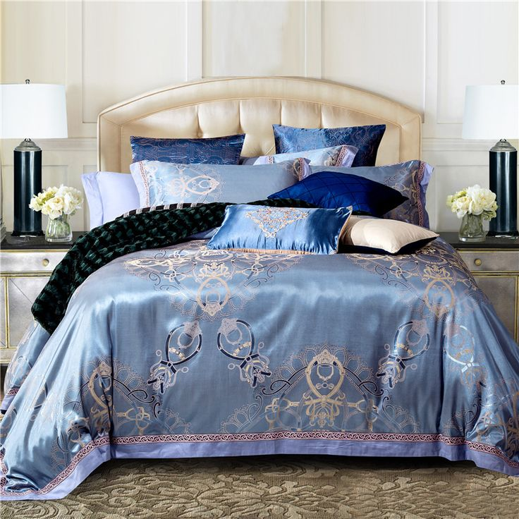 Luxury Silk Bedding Set Embroidery Bed Linens Tencel Satin Bed Sheet Set Jacquard Bedclothes Full/Queen/King Size Bed cover