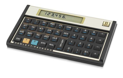 HP 12C Financial Calculator  HP 12C Financial Calculator The HP 12C Financial Calculator features built-in financial functions and statistics, uses Reverse Polish Notation (RPN), more than 120 built-in functions, including register-based cash-flow analysis, 10-character, 1-line LCD display, Device measures 5.0 x 0.6 x 3.1 inches (WxHxD).It has 10-character, 1-line LCD display.  http://www.newofficestore.com/hp-12c-financial-calculator-3/