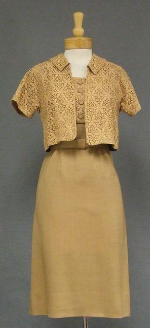 Stylish Tan Lace & Linen 1950's Summer Dress w/ Jacket - Vintageous, LLC