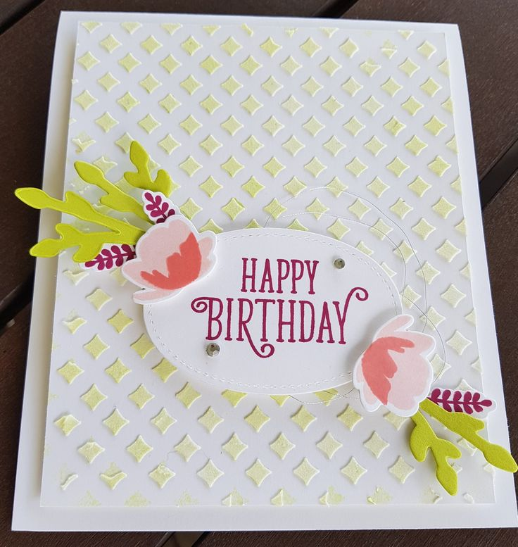 Card made at my Hostess Club.  Spritzed with Lemon Lime Twist before removing mask after applying Embossing Paste.