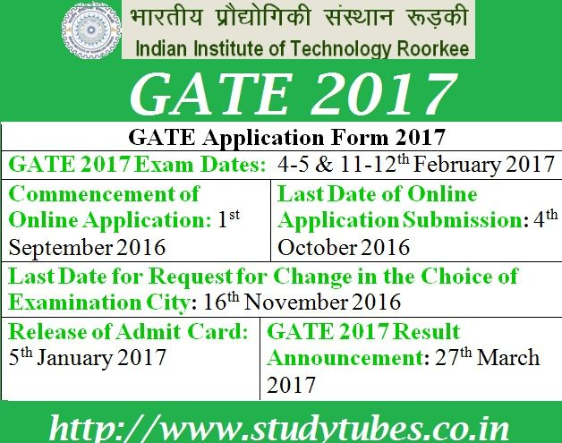 ++++ SHARE & HELP OTHERS GATE  Examination 2017 is conducting by the IIT Roorkee. All Interested candidates Get the updates about GATE 2017 such as Registration process, Application Form, eligibility criteria, Admit Card and exam dates.