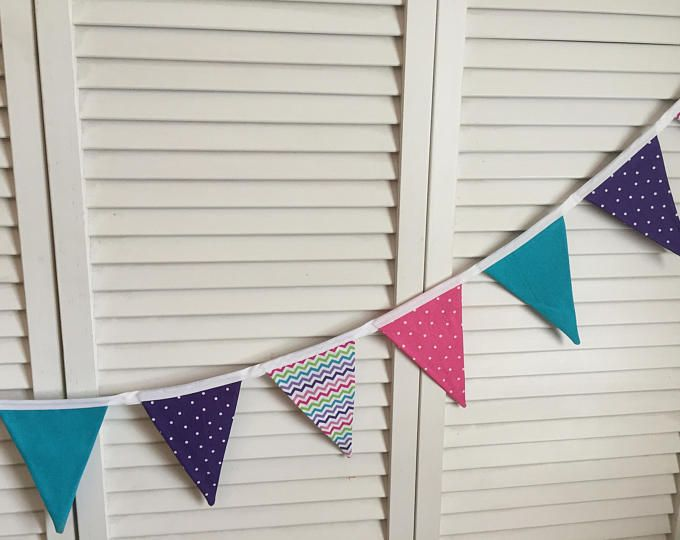 BUNTING, FLAG BUNTING, Banner, Flag Banner, Fabric Bunting, Fabric Banner, Photo Prop, Girls Bedroom, Decorations, Pink, Purple, Chevrons