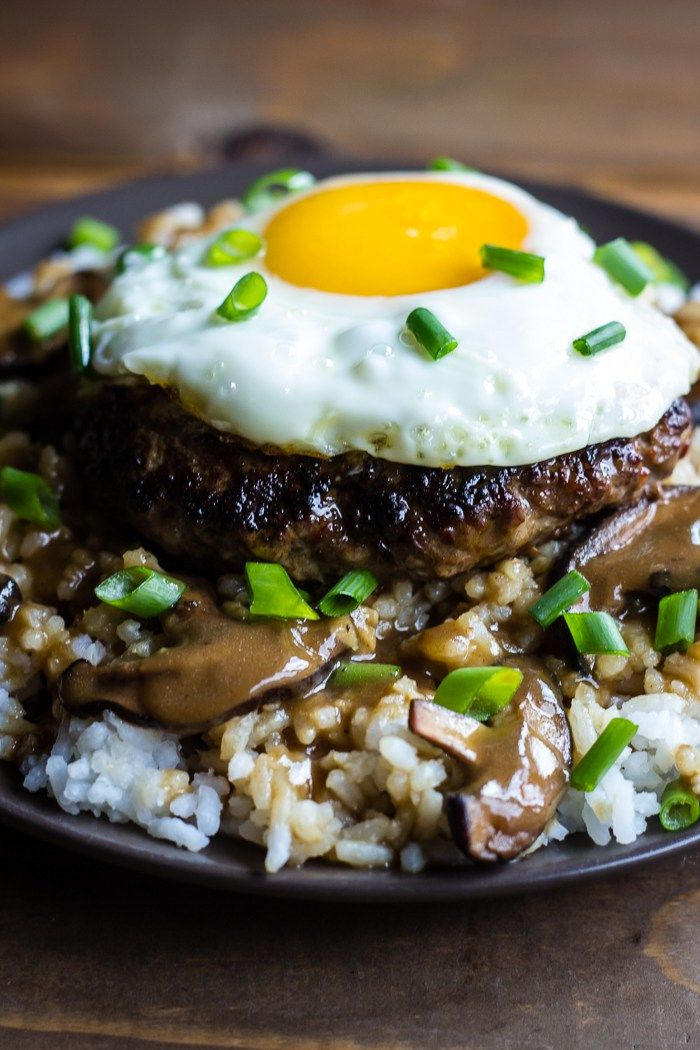 Loco Moco (Gluten free version); Hawaiian beef on rice with mushroom gravy, topped with egg. YUM!