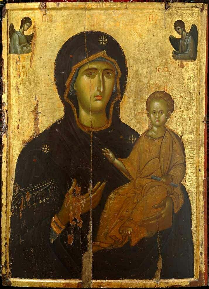 Theotokos Hodegetria . 14th century - icon from the iconostasis of the Monastery of Saint John the Forerunner in Serres, Greece +++ Παναγία Οδηγήτρια - Ιερά Μονή Τιμίου Προδρόμου Σερρών
