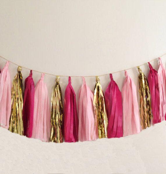 Tissue tassel garland in metallic gold, blush pink and hot pink tissue paper tassel // birthday // wedding // baby shower on Etsy, $29.00