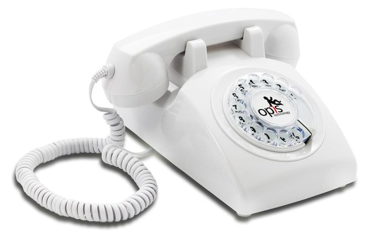 OPIS 60s CABLE: designer retro phone / rotary dial telephone / retro style phone / vintage telephone / classic desk phone with rotary dialler (white): Amazon.co.uk: Electronics