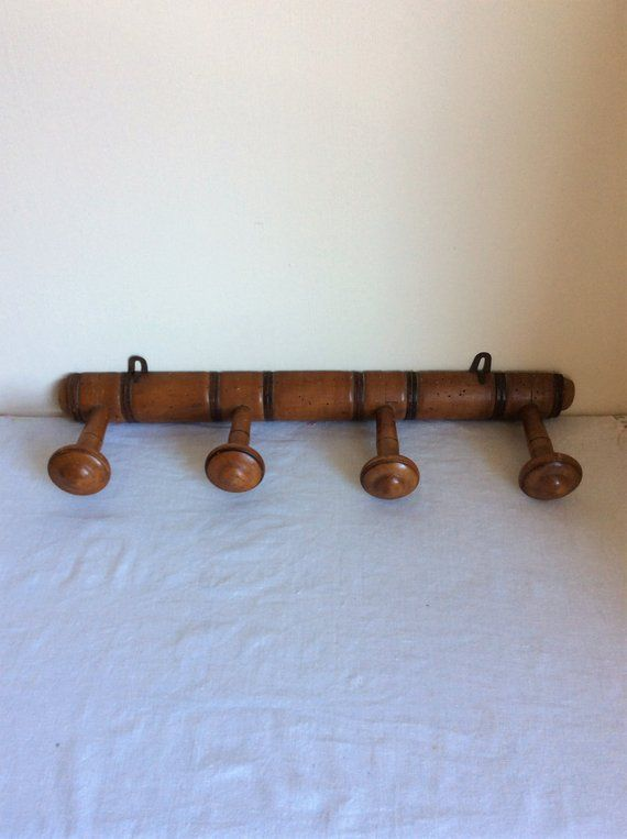 French Coat Hook Rack Of 4 Hooks A Vintage Wall Mounted Wooden