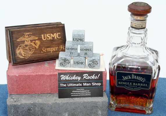 1 Unique US Marines Gift 6 Engraved Whiskey by TheUltimateManShop