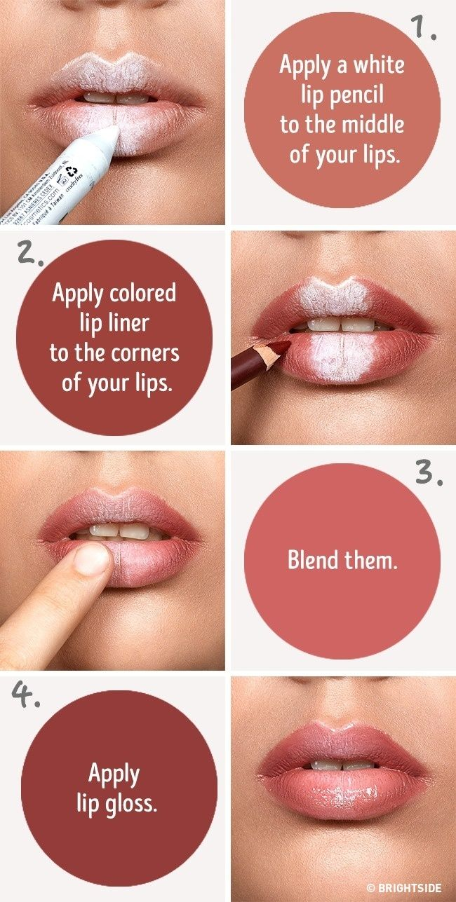 Six simple tricks that will make your lips look fuller --- use a white pencil to fake fuller lips (contour lips) -- Makeup Sets http://amzn.to/2lyQzdw